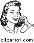 Retro Illustration of a Retro Black and White Lady Smiling and Chatting on a Phone by BestVector