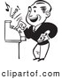 Retro Illustration of a Retro Black and White Merchant Operating a Cash Register by BestVector
