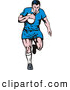 Retro Illustration of a Rugby Football Player in a Blue Uniform by Patrimonio