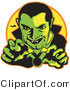 Retro Illustration of a Spooky Male Vampire with Dark Hair Slicked Back, Reaching Outwards While Grinning and Showing His Fangs As a Vampire Bat Flies in the Distance Clipart Illustration by Andy Nortnik