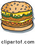 Retro Illustration of a Tasty Double Cheeseburger with Two All-Meat Patties, Pickles, Ketchup and Melted CheeseTasty Double Cheeseburger with Two All-Meat Patties, Pickles, Ketchup and Melted Cheese by Andy Nortnik