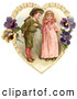 Retro Illustration of a Vintage Painting of a Sweet Little Boy Trying to Woo a Little Girl in a Heart of Leaves and Pansy Flowers, Circa 1890 by OldPixels