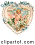 Retro Illustration of a Vintage Valentine Painting of Cupid with Ribbons, Prancing in White Lily of the Valley Flowers on a Lacy Heart with Forget Me Not Flowers, Circa 1890 by OldPixels