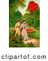 Retro Illustration of a Vintage Valentine Painting of Two Ladies Strolling Through a Garden and Talking About a Man in the Background by OldPixels