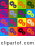 Retro Illustration of a Warm Background of Red, Purple, Orange, Green, Blue, Black and White Flowers in Different Colored Squares by KJ Pargeter
