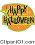Retro Illustration of an Orange and Green Happy Halloween Bar Sign by Andy Nortnik
