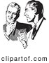 Retro Illustration of Businessmen Talking in Black and White by BestVector