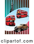 Retro Illustration of Double Decker Buses, Vintage Car and Big Ben Tower on a Striped Background by