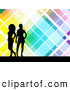 Retro Illustration of Two Black Silhouetted Women Standing over a Retro Colorful Tiled Background with White Lines by KJ Pargeter