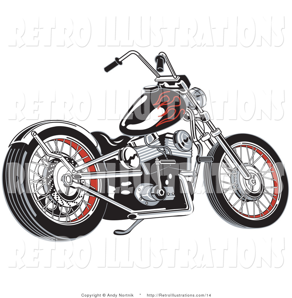 retro illustration of a black motorcycle with red flame