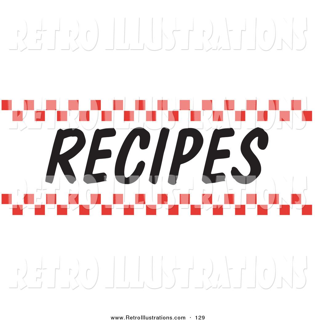 Retro Illustration of a Recipes Sign with Red Checker