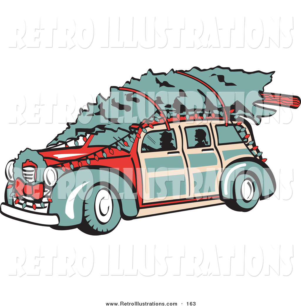 Retro Illustration Of An Old Fashioned Red Woodie Car Carrying A Christmas Tree On The Roof Decorated In Christmas Lights And A Wreath By Andy Nortnik 163